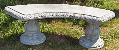 Casa Padrino Jugendstil Gartenbank/Parkbank Grau 138 x 45 x H. 48 cm - Gebogene Sitzbank mit wunderschönen Verzierungen - Gartenmöbel