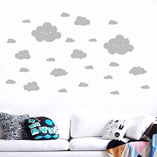 e Wolken Wandtattoos 24 stück,Lächelndes Gesicht Weiße Wolken Vinyl Aufkleber Kunst Wandaufkleber DIY Home Room Schlafzimmer Wohnzimmer moderne Hintergrund TV-Decor ()