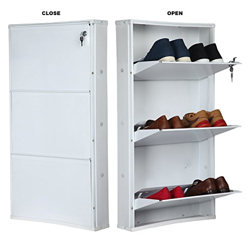 Parasnath White Colour Shoe Den with Bigger in Size/White Shoe Rack with 3 Shelves/ 3 Layer Shoes Stand (Made in India)