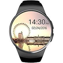 VOSMEP Reloj Inteligente del Negocio con Bluetooth 4.0 Smart Watch Muñeca Inteligente Pulsera Podómetro Deporte Monitor de Pulso Cardiaco con Pantalla Táctil Cámara para Apple/iOS, Samsung /Android, HTC LG Huawei Xiaomi soporte SMI/TF Teléfonos Inteligentes (Negro) SM27