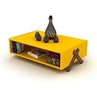 Home Canvas Kipp Coffee table Modern Living Room (Walnut-Yellow)