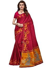 Ishin Women's Polysilk Red & Orange Printed Saree/Sari With Blouse Piece