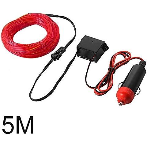 XCSOURCE 5M EL Filo Tubo corda del LED striscia flessibile della luce al neon con Controller per decorazione del partito dell'automobile di nozze (Red) LD825
