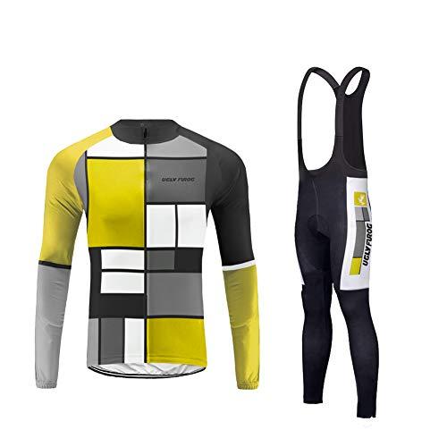 BurningBikewear Uglyfrog Maillot Ciclismo, Ropa Ciclismo Conjunto Hombre Jersey + Culotes Ciclismo Primavera Respirable Reflectante MESGQP04