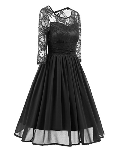 MILEEO Femme Robe de Soirée Floral Lace Bateau Cou Swing Cocktail Swing Party Mesh Robe de mariage Noir