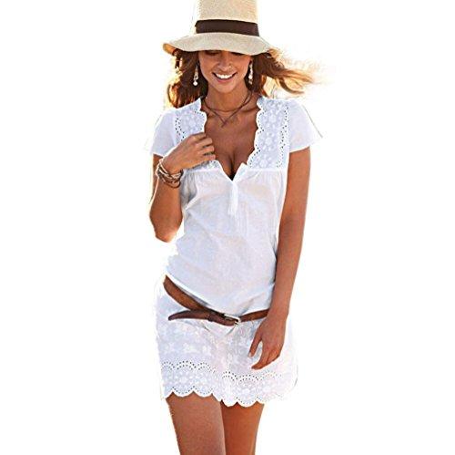 Yanhoo Frauen Sommer V-Ausschnitt Spitze Kurzarm Kleid mit Strandprint Sommerkleid Skaterkleid Vintage Floral Bodycon Sleeveless Beiläufiges Abend Partei Abschlussball Schwingen (Weiß, L) (Design-abschlussball-kleid-abend-kleid)