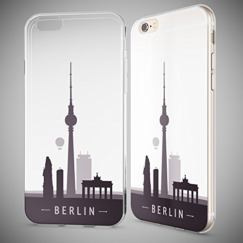 iPhone 6 6S Coque Protection de NICA, Housse Motif Silicone Portable Premium Case Cover Transparente, Ultra-Fine Souple Gel Slim Bumper Etui pour Apple iPhone 6S 6 - Transparent Berlin Skyline