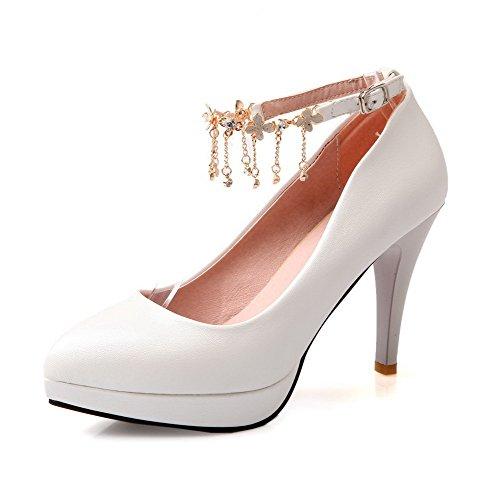 AgooLar Damen Schnalle Stiletto Pu Rein Spitz Zehe Pumps Schuhe, Weiß, 42