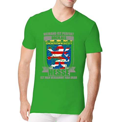 Fun Sprüche Männer V-Neck Shirt - Perfekter Hesse Wappen Shirt by Im-Shirt Kelly Green