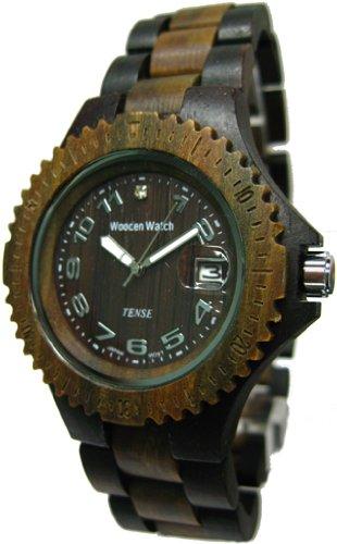 TENSE Mens Compass Premium Holzuhr G4100DG - Natürliches Sandelholz G4100DG