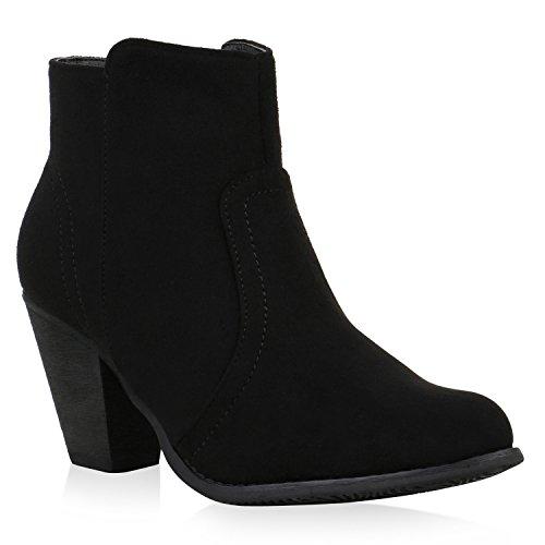 Klassische Damen Stiefeletten Gefüttert Wildlederoptik Schuhe Schwarz