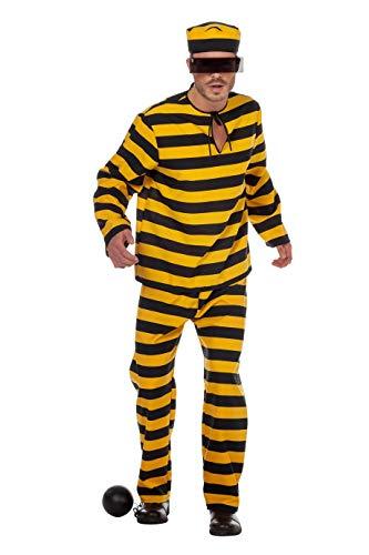 Sträflings-Kostüm Herren Gelb Schwarz gestreift Anzug 3-teiligGauner Ganove Karneval Fasching Hochwertige Verkleidung Fastnacht Größe 60 Schwarz/Gelb