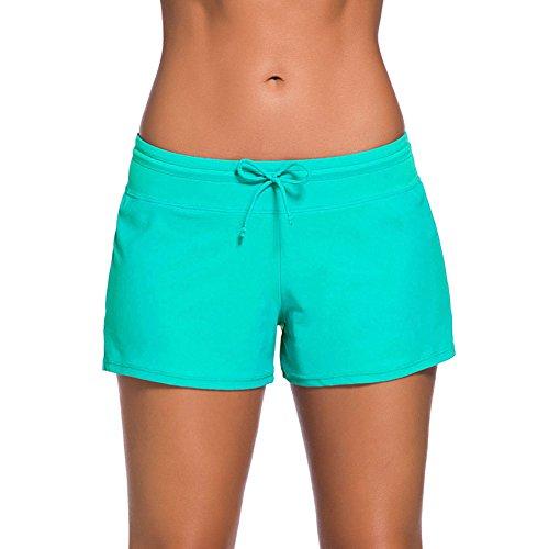 Newbestyle Sommer Badeshorts Damen Strand Schwimmanzug Shorts Hellgrün