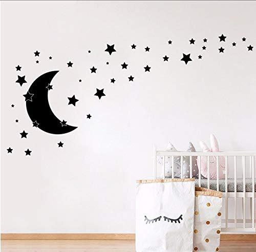 Celestial Home Decor (ykxykw Stars and Moon Wall Decals Nursery Decor, DIY Cartoon Moon Celestial Decal Home Baby Room Vinyl Sticker Wall Decoration 56 * 49Cm)