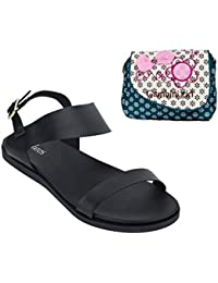 Estatos Metallic Shine Leather Open Toe Buckle Closure Black Flat Sandals With Blue Printed Clutch For Women