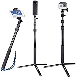 Smatree DC Bastone Selfie Monopiede Telescopico Allungabile con Treppiede per GoPro Hero 2018, Hero 6/5/4/3+/3/2/1/ Fusion/ Session/ Ricoh Theta S/V, M15 Fotocamere Compatte e Smartphone