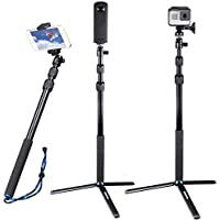 Smatree SmaPole DC Telescoping Selfie Stick with Tripod Stand for GoPro Hero Action Camera/GoPro Fusion/Hero 6/5/4/3+/3/2/1/Session Cameras, Ricoh Theta S, M15 Cameras, Compact Cameras and Cell Phones