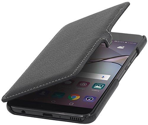 StilGut Book Type Case, Hülle Leder-Tasche für Huawei P10 Plus. Seitlich klappbares Flip-Case aus Echtleder für das Original Huawei P10 Plus, Schwarz mit Clip
