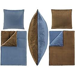Dresscode 4-Teilige Bettwäsche Set 155x220 80x80 cm PLÜSCH Coral Fleece Cashmere Touch Super Weich Einfarbig Uni Wende 4tlg 155x220 Dunkel Braun Blau