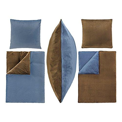2-Teilige Bettwäsche Set Bett Bezug 135x200 cm Kopfkissen 80x80 cm PLÜSCH Coral Fleece Cashmere Touch Super Weich Soft Einfarbig Wende 2tlg UNI Dunkel Braun Blau