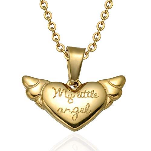 CWYPM Angel Wing Herz Pendant Halskette, Frauen Buchstaben -
