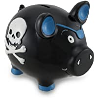 Preisvergleich für Black Pirate Pig Blue Skull & Crossbones Piggy Bank Money by Zeckos