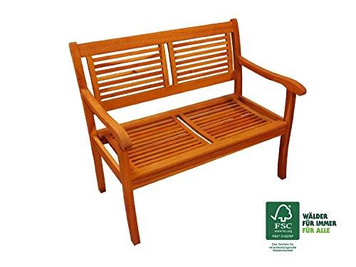 SAM Garten-Bank 110 cm Cordoba aus Akazie-Holz Massiv Geölt, FSC 100% Zertifiziert, 2 Sitzer, für Balkon, Terrasse