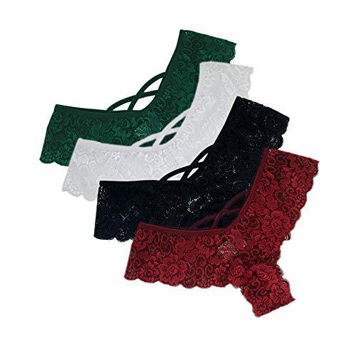 Lialbert 4er-Pack Damen Tangas Spitze G-Strings Slips Frauen Unterwäsche Erotische Wäsche Dessous Reizunterwäsche Unterhosen -