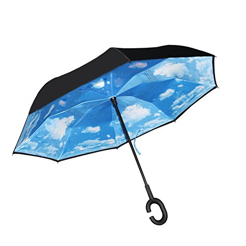 ARyee Double Layer C Shape Handle Reverse Umbrella con patrón de cielo azul, anti-UV paraguas a prueba de viento de viaje