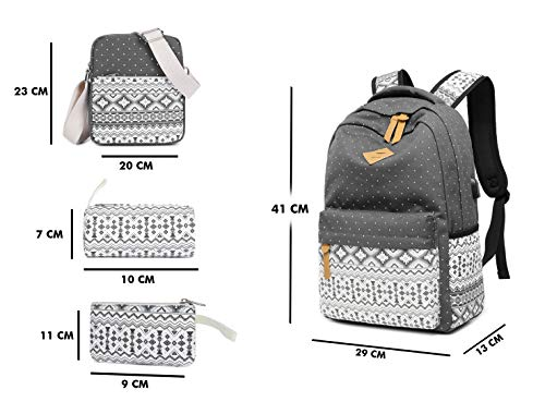 Best ladies backpack in India 2020 Vezela 4Pc Combo Of Laptop Bag With Usb Charging Feature With Lunch Bag, Pencil Case & Pouch (Gray) Image 7