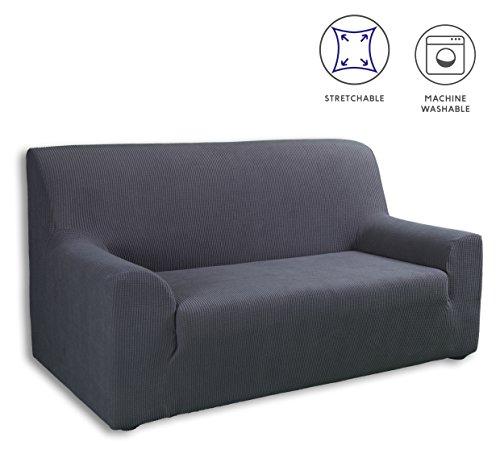 Tural – fodera per divano elasticizzato grigio 2 posti. copridivano elastico. disponibile in diversi colori e dimensioni