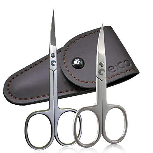 Eico Profi Nagelschere-Set - Extra scharfe Premium Nagelschere und Hautschere mit gebogenen Schneiden und Etui - Für Finger- und Zehennägel - auch Linkshänder geeignet (Nagelschere + Hautschere)