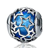 Dxlts 925 Sterling Silber Glas Bead Sternenhimmel Element Kugel für European Beads Anhänger für Pandora und europäische Armbänder Halskette,Blue