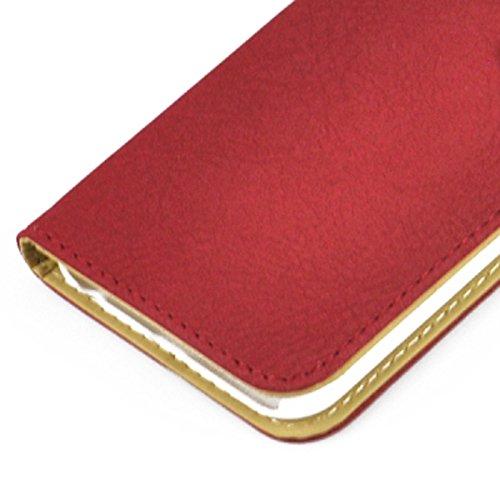 Wkae Case Cover und fühlen sich horizontale flip magnetische button lederetui mit kartenschlitz &holderfor iphone 6 &65 ( Color : Dark Blue ) rot