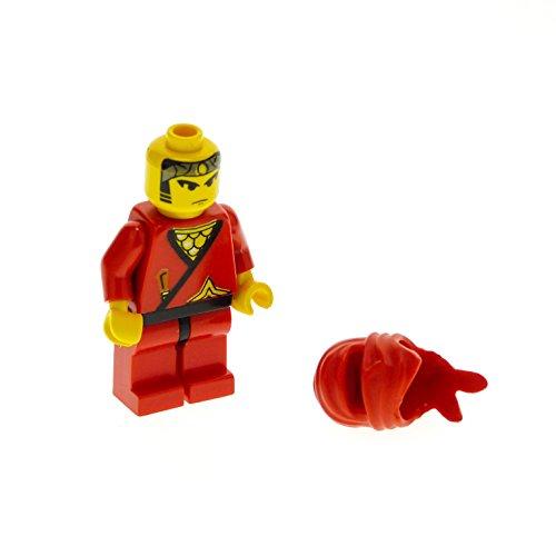 Bausteine gebraucht 1 x Lego System Figur Ninja Mann Red Torso rot Bedruckt Dolch Stern Gold Kimono Ninja Maske Tuch Kapuze cas050
