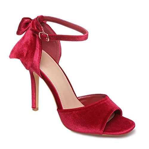 La Modeuse - Sandales en velours à talons fin Rouge