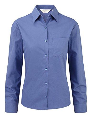 Russell Collection Women's Easycare Poplin Long Sleeve Shirt Bleu Aztèque