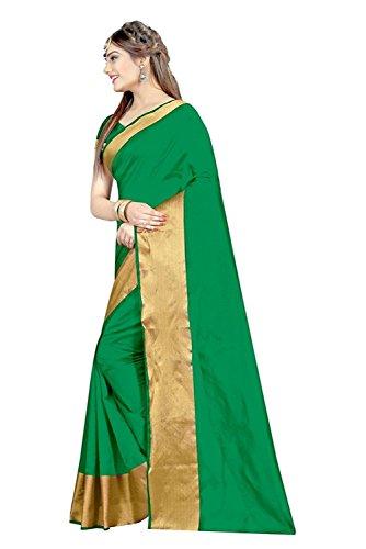 J B Fashion Silk Saree With Blouse Piece(H-Saree For Women-Monika-Green_Green Free Size)
