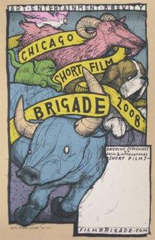 Chicago kurzer Film Brigade 2008Limited Edition Siebdruck Print Film Poster Film Poster Jay Ryan Original unterschrieben und nummeriert Bird Maschine Prints, Film Poster