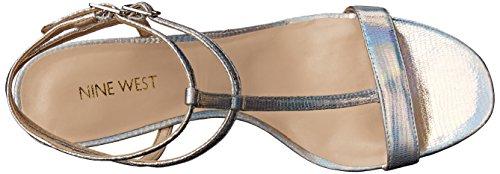 Nine West Dacey metallo con tacco del sandalo Silver Mt