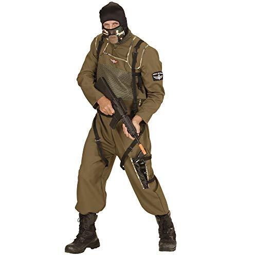 Kostüm Herren Für Fallschirmjäger - Widmann 49443 - Erwachsenenkostüm Fallschirmspringer Special Forces, Overall, Weste und Kapuze, grün, Größe L