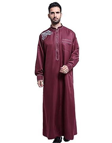 GladThink Männer Thobe mit langen Ärmeln arabischen Muslimen tragen Wein XXL