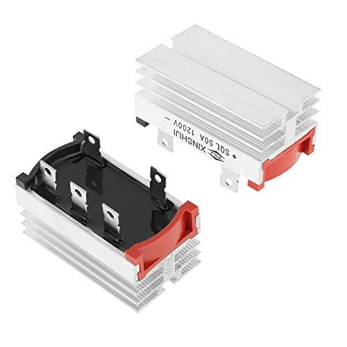 Brückengleichrichter, 2pcs Brückengleichrichter 3-Phasen-Diode 50 Amp 1200V Aluminium mit guter Wärmeableitung - Brückengleichrichter Spannung