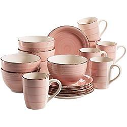 MÄSER 931494 Bel Tempo II - Vajilla de desayuno para 6 personas (cerámica, pintado a mano, 18 piezas, gres), color rosa