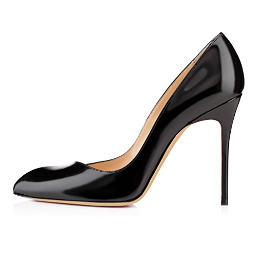 EDEFS- Femme Escarpins - Sexy Talon Aiguille - Noir - Chaussures Club Soiree Noir