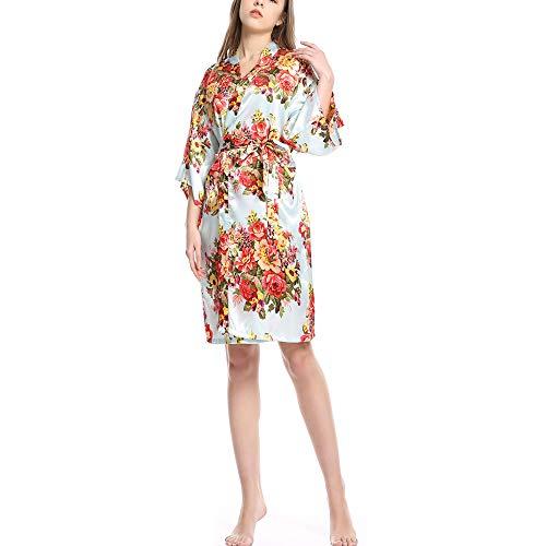 Frauen Satin Bademantel, V-Ausschnitt Seide Home Service, sexy Braut Pyjama, mit Blume Spitzenkleid, High-End-Bad - Paare Gamer Kostüm