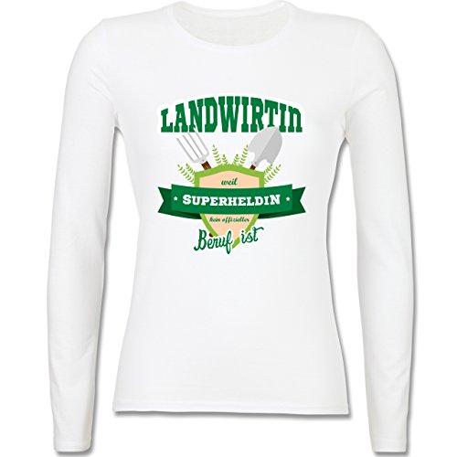 Landwirt - Landwirtin - weil Superheldin kein offizieller Beruf ist - tailliertes Longsleeve / langärmeliges T-Shirt für Damen Weiß