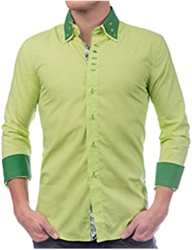 ArizonaShopping - Hemden Uomini Shirt contrasto con collo H1387, Größe Hemd:M, Farben:verde