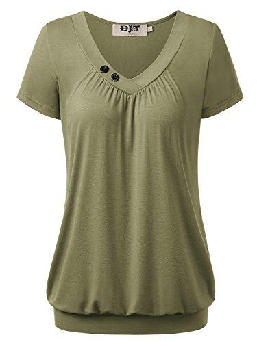 DJT Damen Basic V-Ausschnitt Kurzarm T-Shirt Falten Tops mit Knopf Gruen M