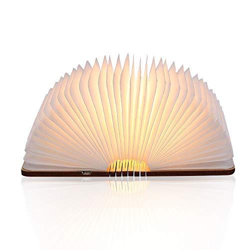 (Buchlampe, kikelimus Faltbare Buch Licht Stimmungsbeleuchtung,USB Akku Lithium Nachttischlampe Dekorative Lampen Tischlampe,Nachtlicht Ölbildscheibe Papier+ Holz Einband Warmweiß Licht)